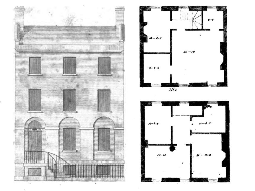 A federal house plan published by Asher Benjamin in 1816. Image via The American Builder's Companion via Brownstoner.com