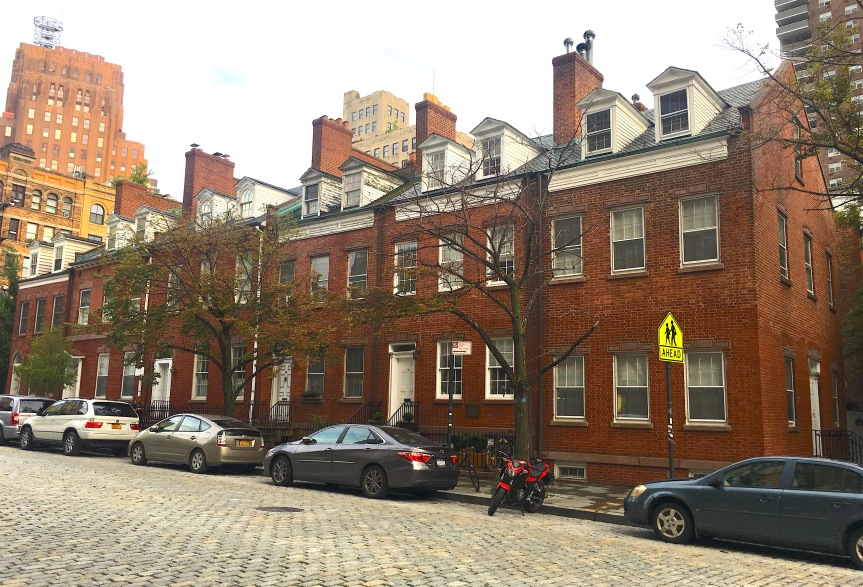1820s Federal-style row houses on Harrison Street in NYC